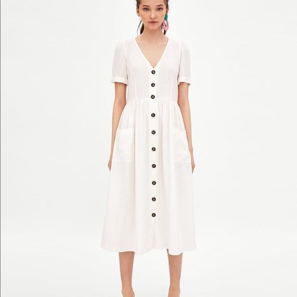 16a1e209 Zara Dresses | Nwot Button Front Linen Midi Dress Ecru Sm | Poshmark